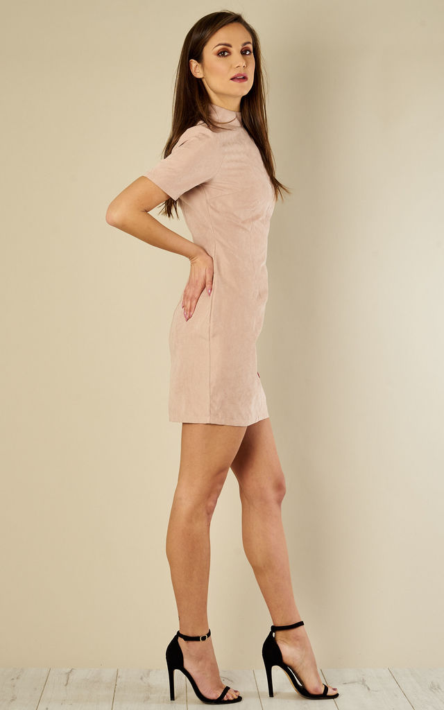 434949eeac68 Nude Suede Mini Dress by Madam Rage