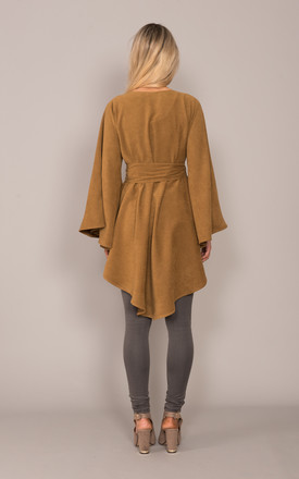 Dipped Hem Poncho Tan by DARE LABEL