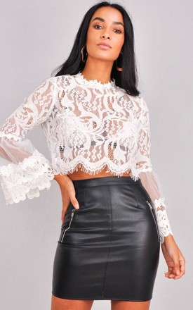Patterned Lace Flute Sleeve Crop Top White by LILY LULU FASHION Product photo