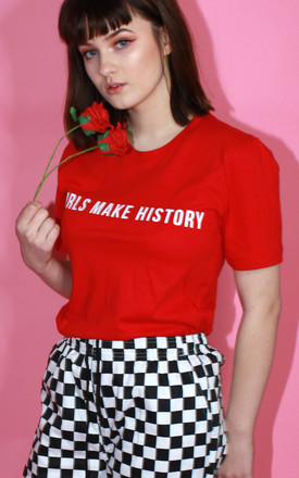 T shirt in Red with Girl Power Slogan by Save The People