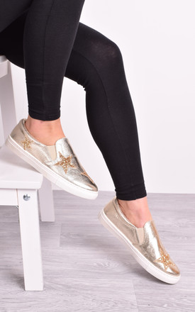 Ladies Gold Slip On Flat Trainers Sneakers Plimsolls by Solewish