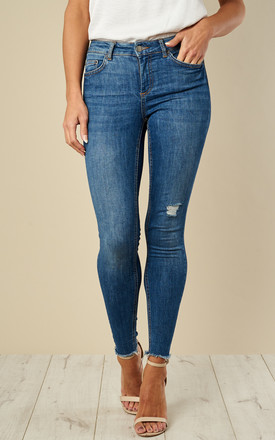 Medium Blue Denim Mid Waist Skinny Jeans by Pieces Product photo