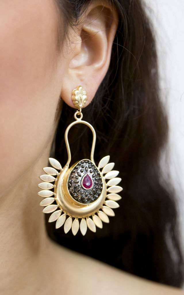 Black and Red Bold Spirit Statement Earrings- Gold Finish by Free Spirits