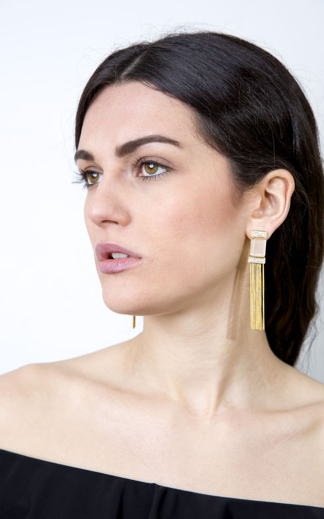 Beige Stone Gold Tassel Statement Cocktail Earrings by Free Spirits