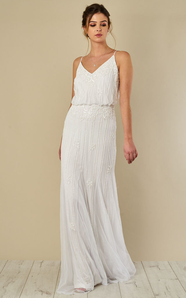 0534f5c1df Keeva Maxi Dress In White | Lace & Beads | SilkFred