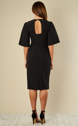Black Kimono Sleeve Fitted Dress by Bella and Blue