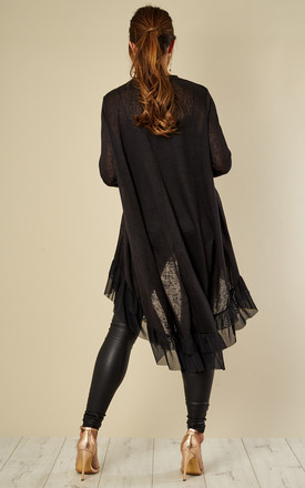 Black Oversized Top With Ruffle Hem by Bella and Blue