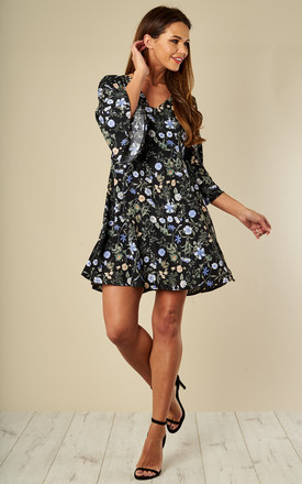 Black Floral Print Swing Dress by Luna Product photo