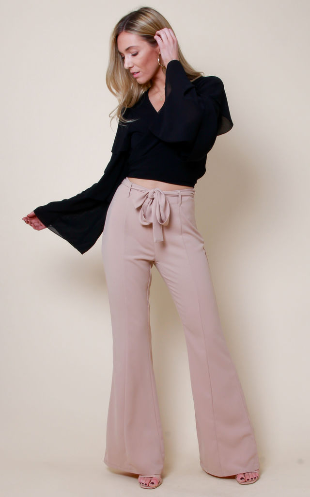 High Waisted Flare Tailored Trousers - Nude by Pretty Lavish