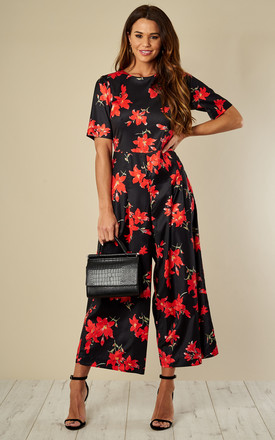 Bianca Red Floral Jumpsuit in Black & Red by Traffic People