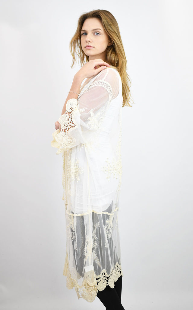 FULL LENGTH MESH KIMONO WITH LACE AND PEARLS in BEIGE by Lucy Sparks