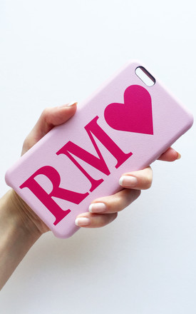 hot pink & baby pink monogram pu leather phone case by Rianna Phillips