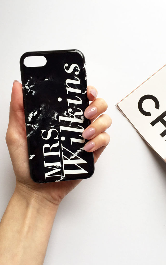 Black marble monogram full name phone case by Rianna Phillips