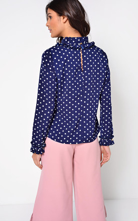 Piper Long Sleeve Polka Dot Frill Top in Navy by Marc Angelo
