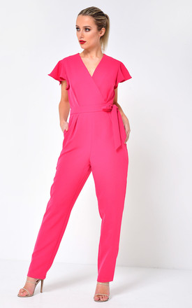 Nora Flounce Shoulder Jumpsuit in Pink by Marc Angelo