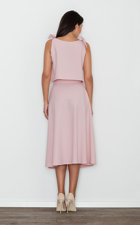 Midi Skirt and Crop Top Co-ord Set in Pink by FIGL