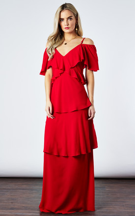 Lipstick Tiered Maxi Dress by If By Sea Product photo