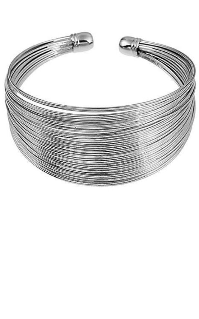 Silver Tone Coil Bangle by Emi Jewellery