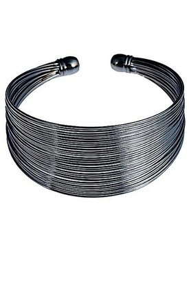 Pewter Tone Coil Bangle by Emi Jewellery