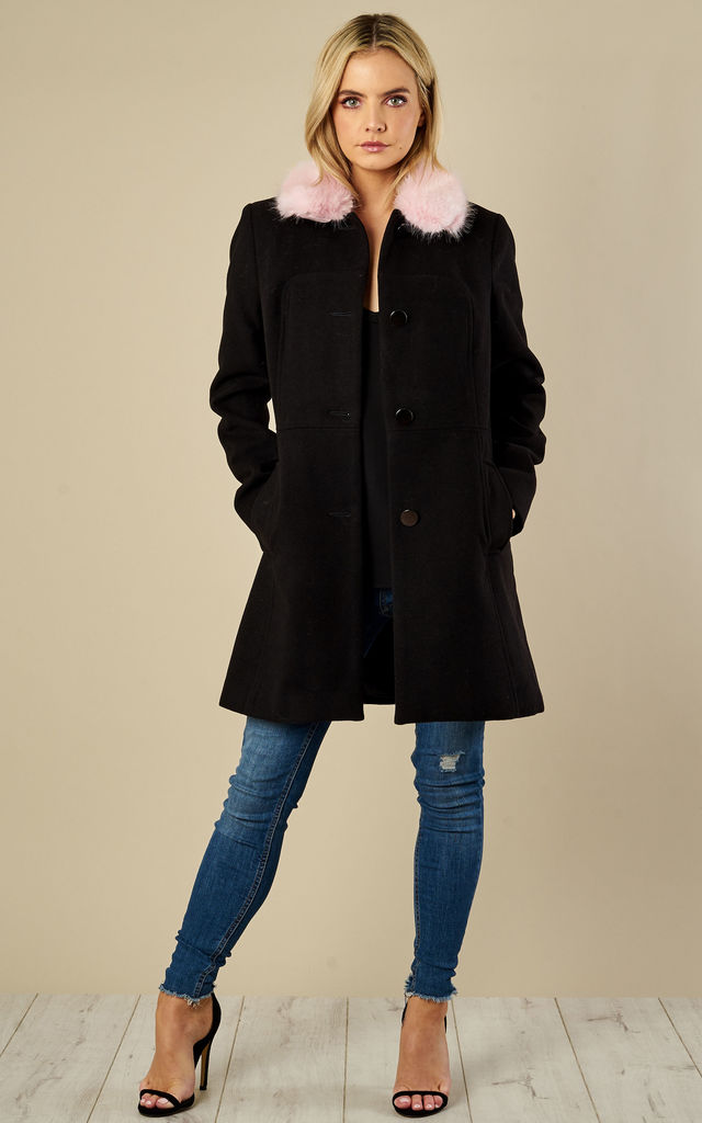 Brooke Detachable Faux Fur Collar Pea Coat by Faux England