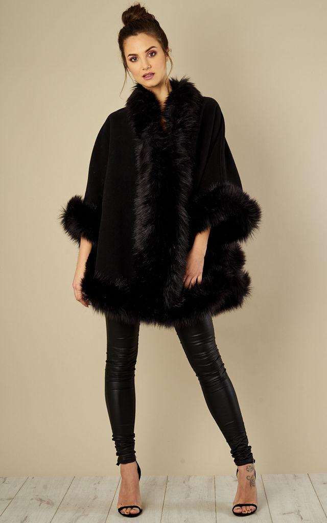 Sadi Black Shaped Faux Fur Trimmed Shawl Cape by Faux England