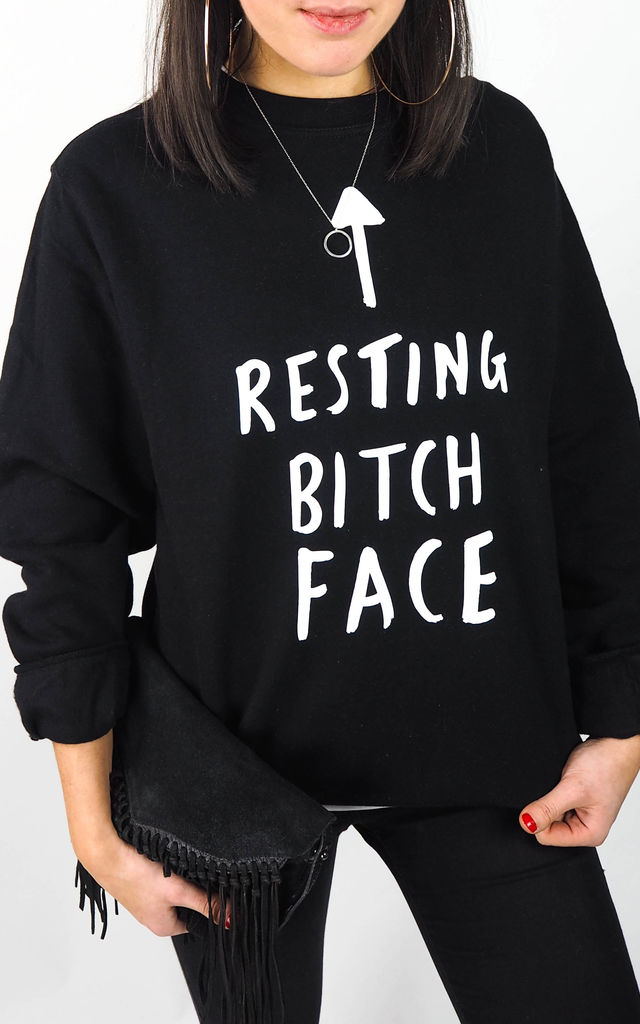 Resting Bitch Face Sweater Black by Rock On Ruby