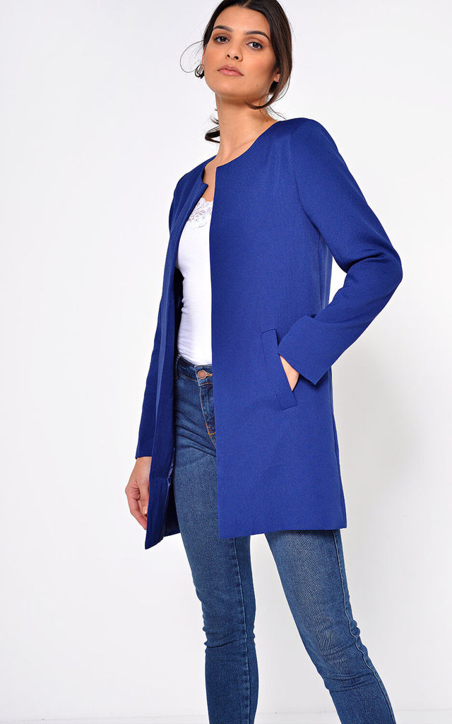 Aria Longline Blazer in Navy by Marc Angelo