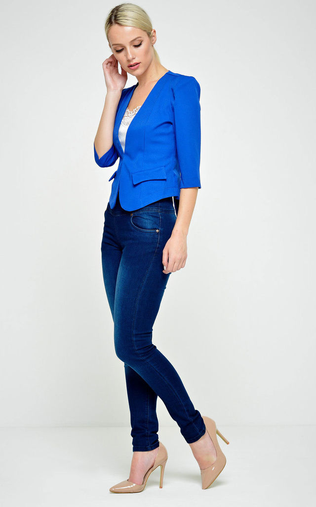 Kim Tailored Cropped Blazer in Royal Blue by Marc Angelo