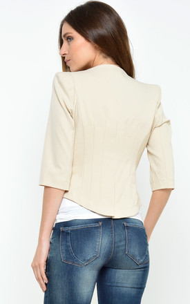 Kim Tailored Cropped Blazer in Nude by Marc Angelo