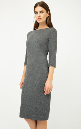 Grey Fitted Knit Dress by Conquista Fashion
