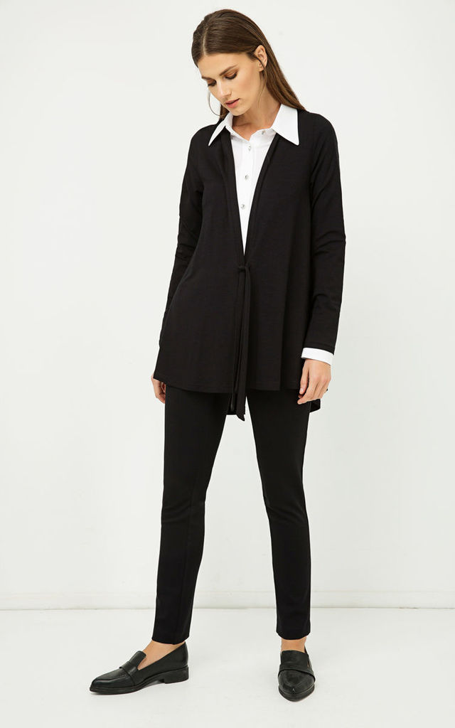 Black Jersey Cardigan with Ties by Conquista Fashion