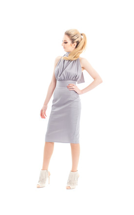 Ve Ve Halter Dress In Powder Grey by CocooVe Product photo