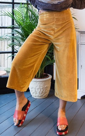 Gold Velvet Cropped Trouser by ceekit Product photo