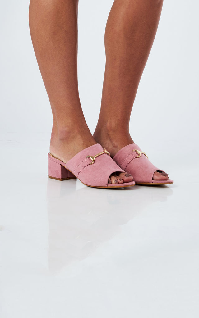 Pink Faux Suede Peep Toe Heeled Sandals by Truffle Collection