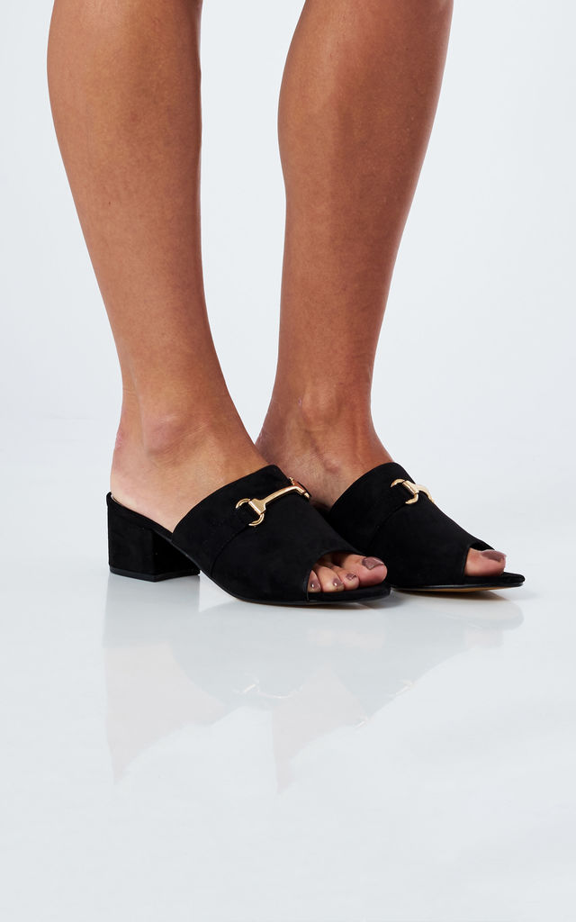 Black Faux Suede Peep Toe Heeled Sandals by Truffle Collection