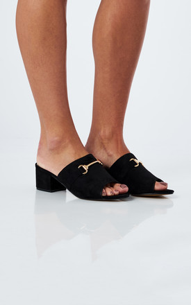Black Faux Suede Peep Toe Heeled Sandals by Truffle Collection Product photo