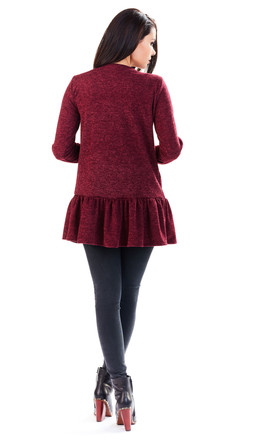 Deep red long zipped jumper by AWAMA