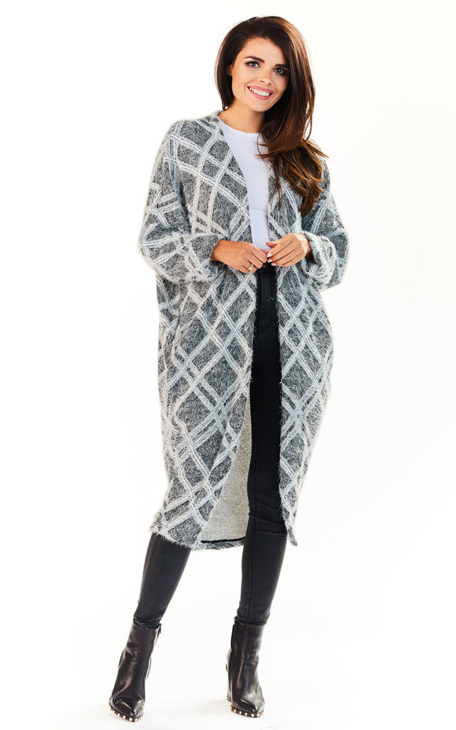 Grey long buttonless cape by AWAMA