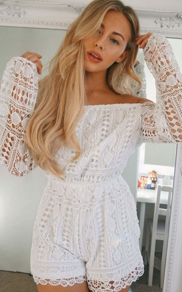 Bardot Lace Full Sleeve Playsuit - White by AJ | VOYAGE