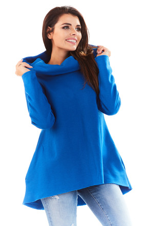 Blue long back blouse with big hood by AWAMA