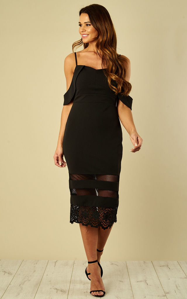 c9d64ab8438 Black lace detail off the shoulder midi dress by Luna