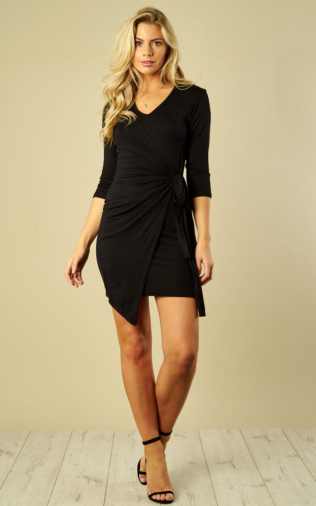 Black Wrap Dress With Tie by Bella and Blue