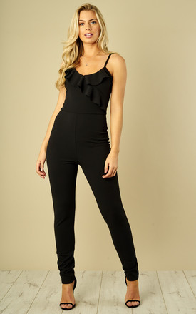 Black Strappy Jumpsuit With Frill Detail by Bella and Blue Product photo