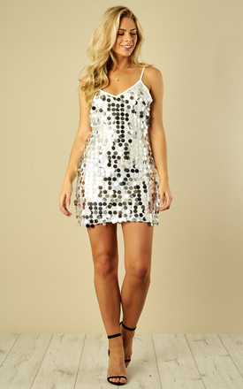 Silver Disk Sequin Slip Dress by Phoenix & Feather