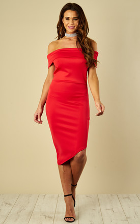 Red Scuba Off The Shoulder Asymmetric Hem Dress by Luna Product photo