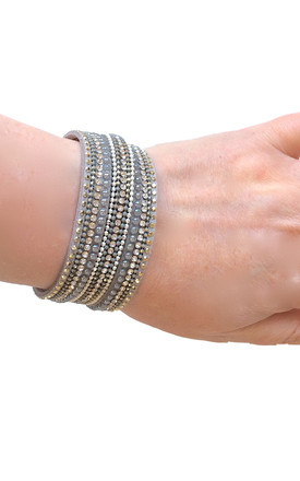 Grey Multi-Layer wrap beaded bracelet by Kate Canning Jewellery
