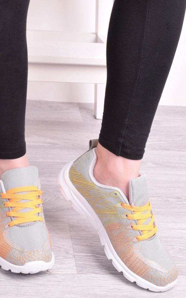 Grey Womens Trainers Lace Up Flat Gym Running Sports by Solewish