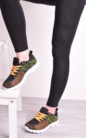 Black and Orange Womens Trainers Lace Up Flat Gym by Solewish