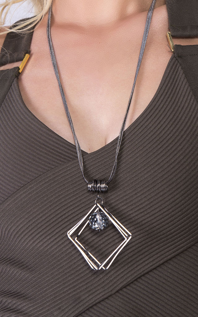 Statement Square & Gem Necklace by Emi Jewellery