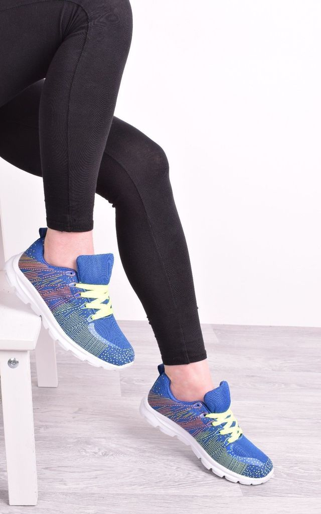 Blue and Yellow Womens Trainers Lace Up Flat Gym by Solewish